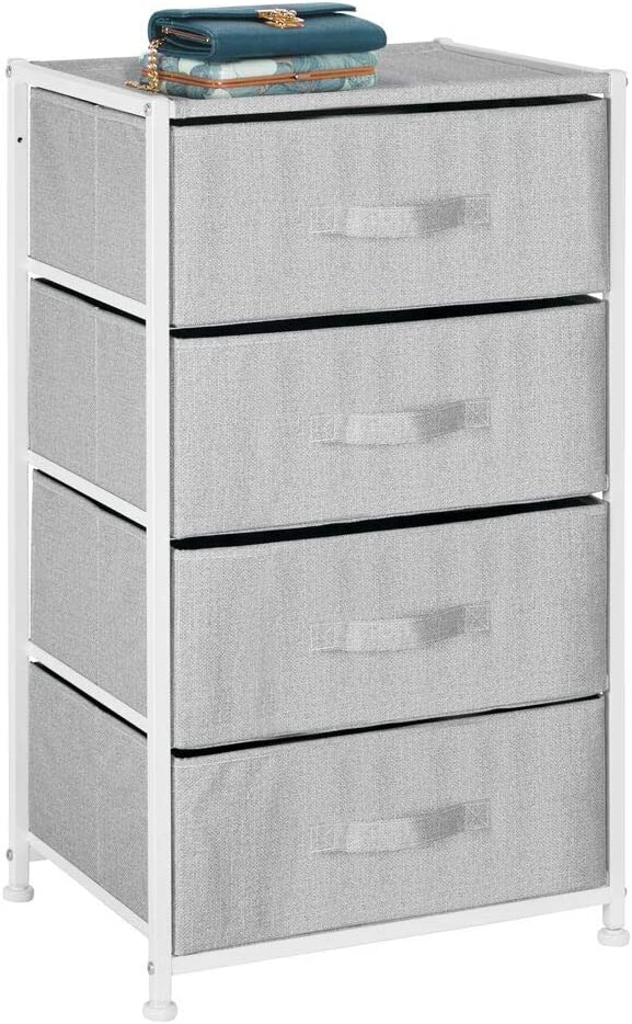 mDesign Vertical Furniture Storage Tower - Sturdy Steel Frame, Easy Pull Fabric Bins - Organizer Unit for Bedroom, Hallway, Entryway, Closets - Textured Print - 4 Drawers - Gray/White