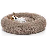 Long Plush Comfy Calming & Self-Warming Bed for Cat & Dog, Anti Anxiety, Furry, Soothing, Fluffy, Washable, Abbyspace, Marshmellow Pet Donut Bed (S(20''D×8''H), Brown)