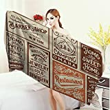 Yoga Mat Towel Old Newspaper Decor Advertisement Signs Barber Shop Restaurant Camping Jewelry Home Highly Absorbent Bath Towel 55''x27.5'' Brown Orange Tan