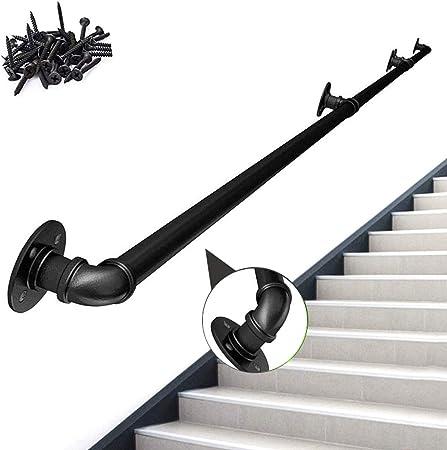 WENBING Pasamanos para Escaleras, Moldeada Negro Mate Mate Negro de tuberías industriales Escalera de Seguridad ferroviaria pasamanos Barra de Soporte rústico Antiguo de Hierro Barandilla,25cm: Amazon.es: Hogar