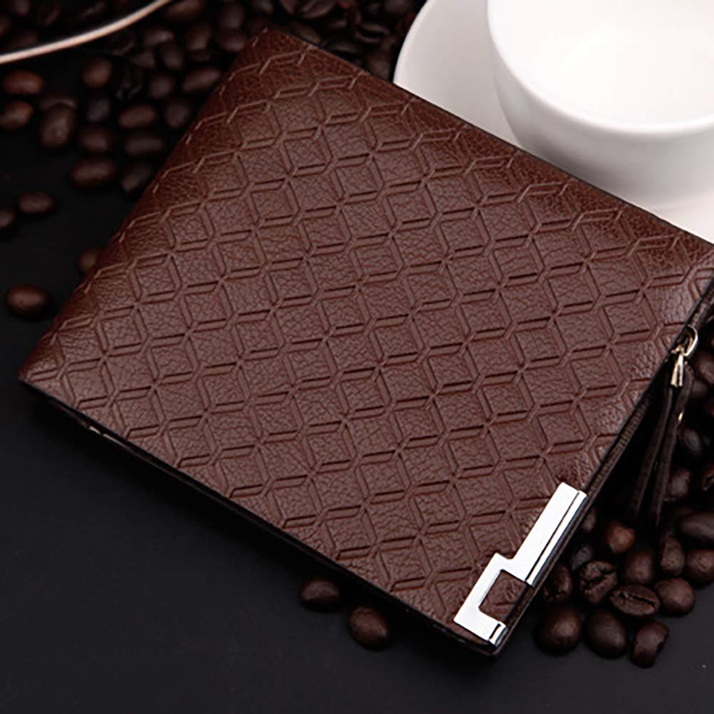 with Metall Zipper Design for Men Wallets Mens Wallet 3 Color Square Plaid Pattern Card Holder Purses