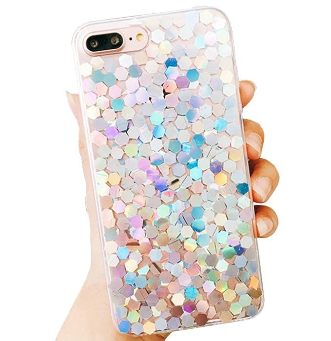 1ff1cc93970a5 Keklle iPhone 8/7 Bling Case Sparkle Ombre Sequins Polka Dot Air Prism  Glitter Translucent Soft TPU Flexible Slim 3D Design Case Cover for iPhone  ...