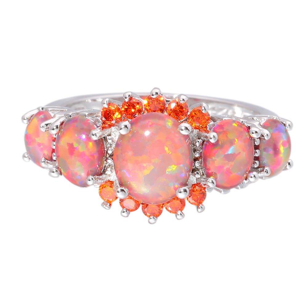 Amazon.com: CiNily Rhodium Plated Created Orange Fire Opal Orange ...