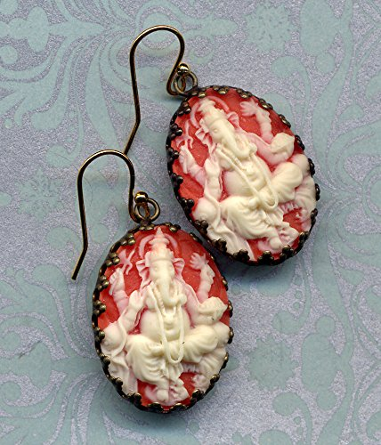 - Ganesha Earrings, Cameo Earrings, Orange Ivory Elephant Earrings, 18 K Gold Filled Ear Wire Earrings, Buddhist earrings by AnnaArt72