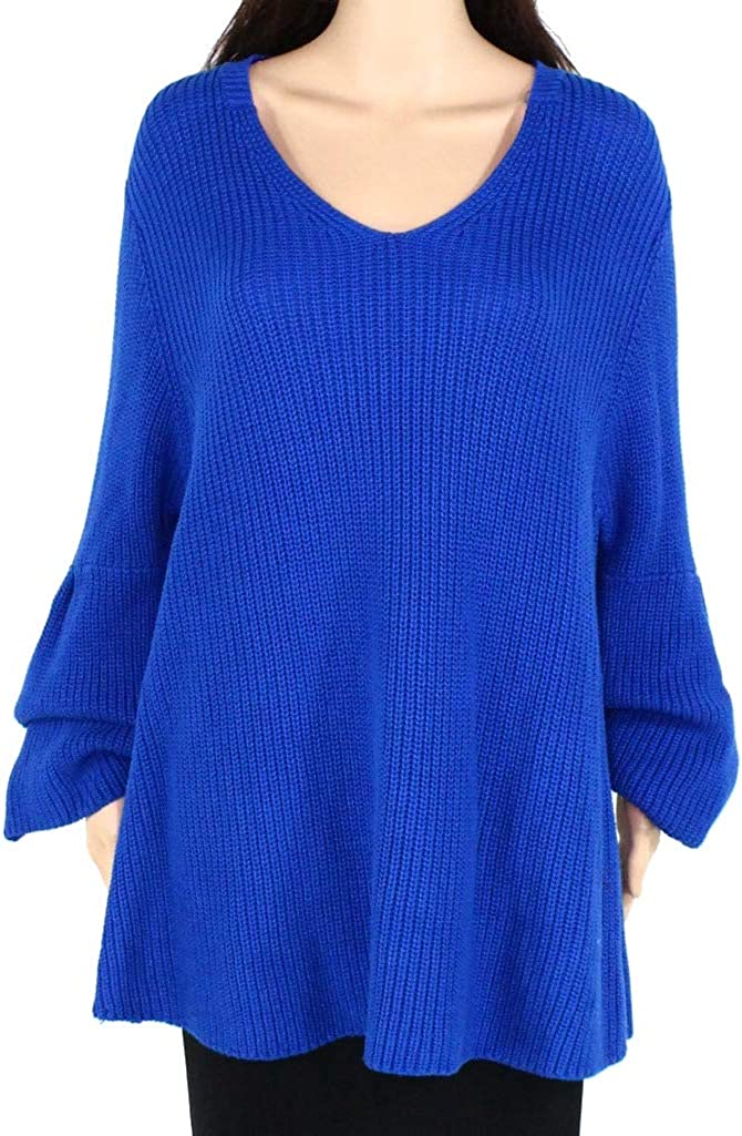 Style /& Co Womens Plus Size Blue Colorblock Tunic Sweater Size 2X