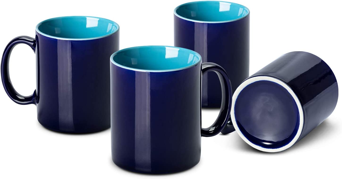 MEWAY 12 oz Color Porcelain Mugs - 12 Ounce Coffee Cup Set for coffee, tea, milk or cocoa,Set of 4, (4, Blue)