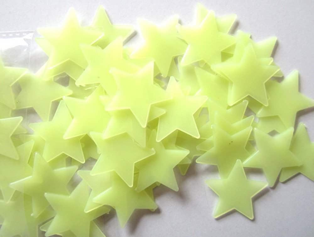 Brydon 100PC Beautiful Fluorescent Glow In The Dark Stars Wall Stickers for Kids Bedroom (Pink)