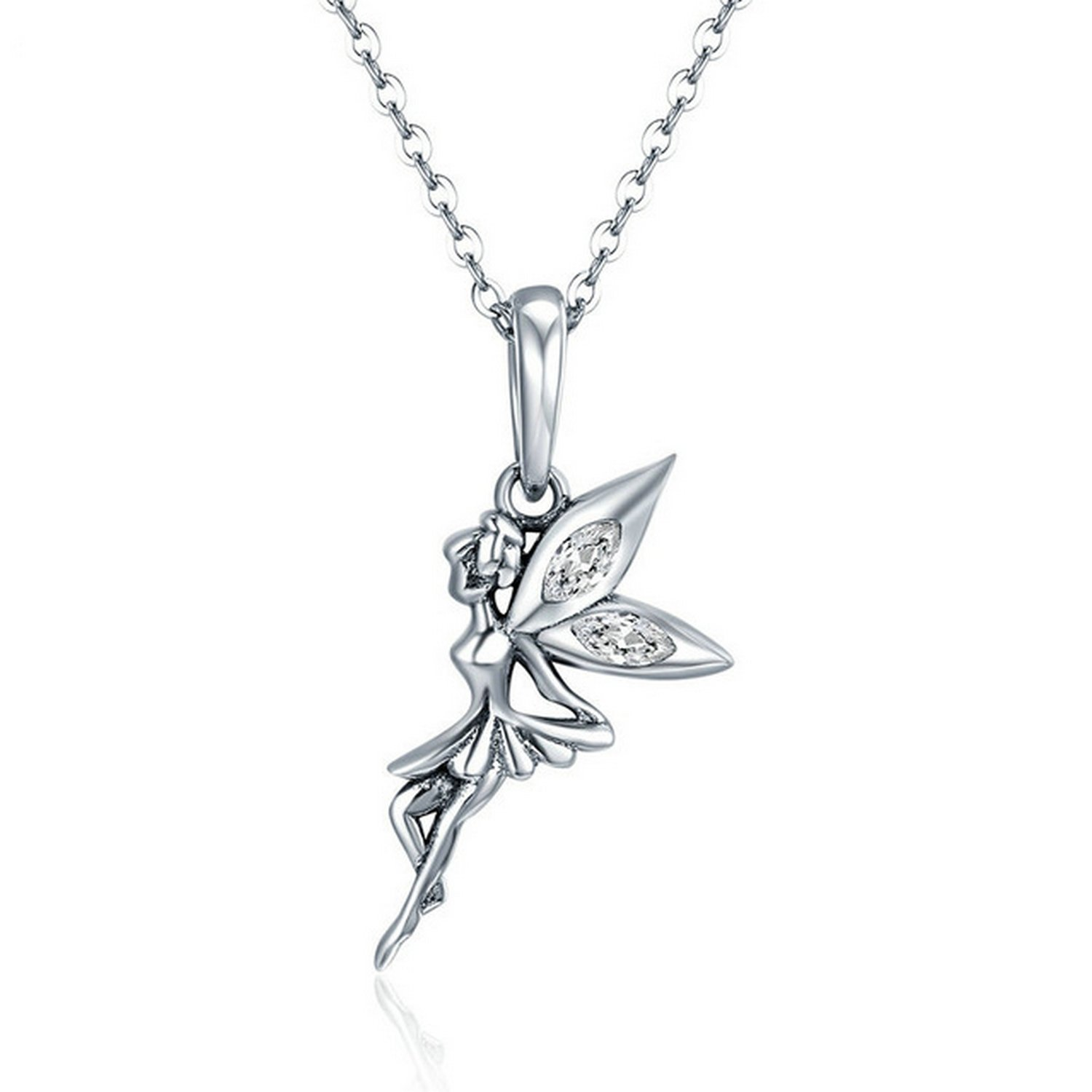 CS-DB Jewelry Silver Flower Fairy Dangle Chain Charm Pendants Necklaces