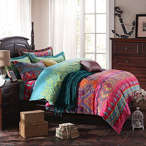 HNNSI 4 Pieces Bohemia Ethnic Bedding Sets King Size, 100% Thick Brushed Cotton Boho Duvet Cover Set with Fitted Sheet Set, Super Comfy and Warm(Fitted Sheet Set, King)