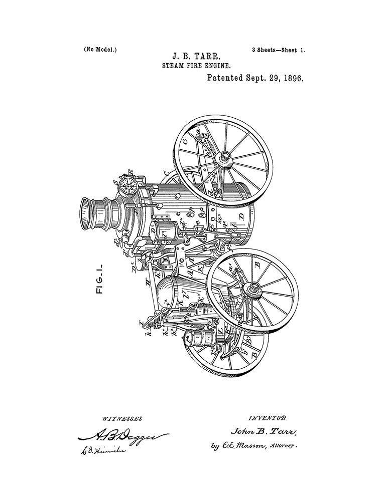 Amazon Com Steam Fire Engine Patent Print White Matte 5 X 7