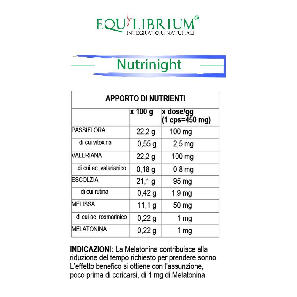 EQUILIBRIUM - INTEGRATORI NATURALI Nutrinight 60 cápsulas de 450 mg: Amazon.es: Salud y cuidado personal