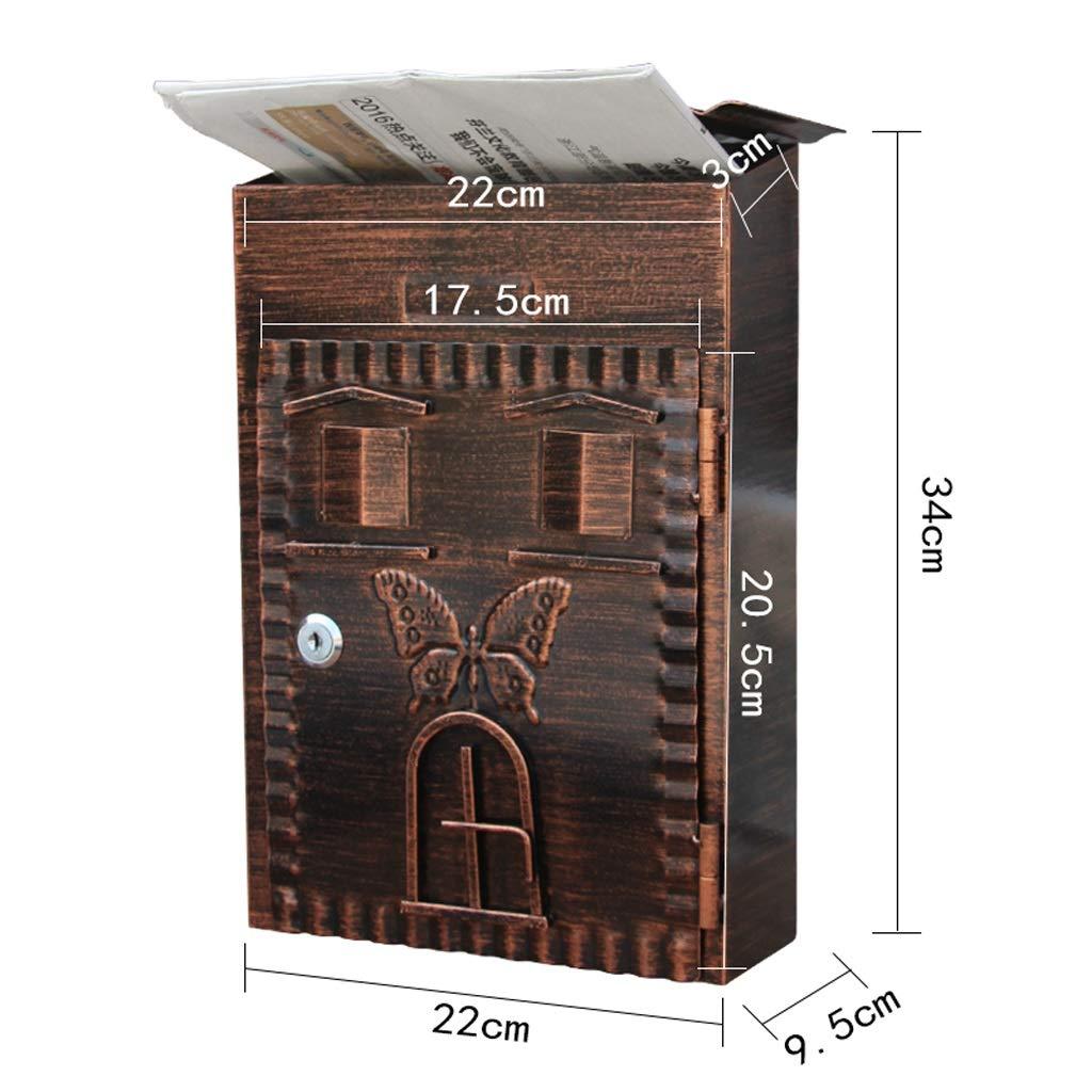 GUOJINE Buz/ón de correo exterior montado en la pared con cerradura impermeable cartas y correo titular de peri/ódico Casilla de correo metal