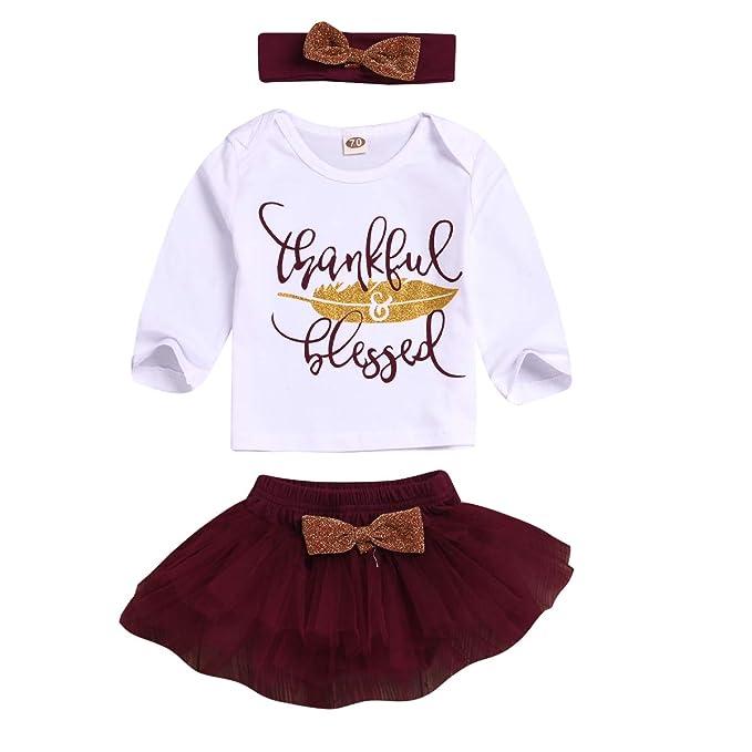 puseky 3 Piezas niños bebé niña Camiseta de Manga Larga + Falda ...
