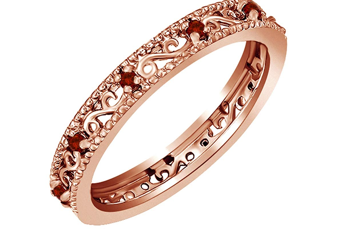 Amazon Jewel Zone Us Round Cut Simulated Red Gar Stackable Ring In 14k Gold Over Sterling Silver Jewelry: Gar Diamond Wedding Rings Women At Websimilar.org