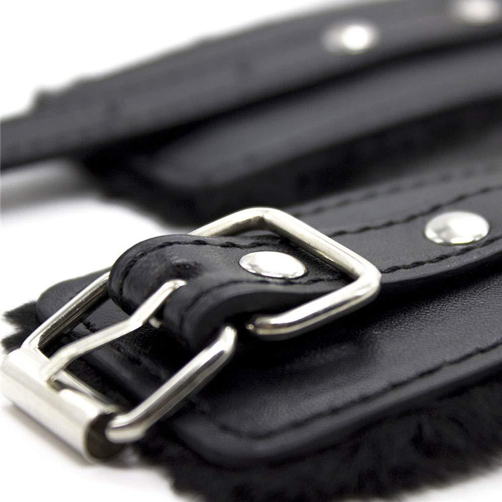 Dovior Soft Fur Leather Handcuffs Adjustable Purple