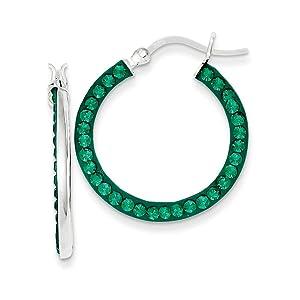 .925 Sterling Silver 25 MM Stellux Crystal Green Hoop Earrings
