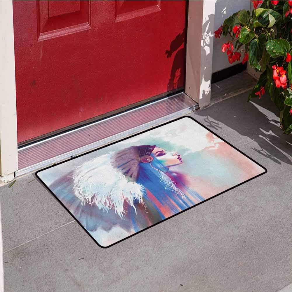 RelaxBear Native American Front Door mat Carpet Girl Smoking Pipe with Traditional Clothes Abstract Watercolor Background Machine Washable Door mat W23.6 x L35.4 Inch Multicolor by RelaxBear