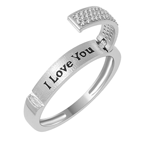 promise ring band for her i love you engraved 015ctw pave diamonds gift - Wedding Ring Bands For Her