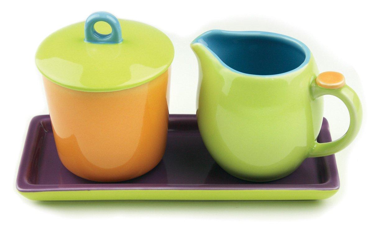 Omniware 1109055 Hemisphere Cream & Sugar with Tray, Orange/Purple/Green