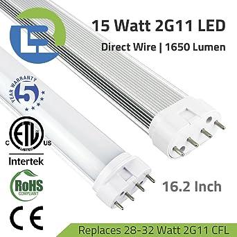 15 watt 2g11 pll led 4 pin direct wire retrofit tube 5000k rh amazon com