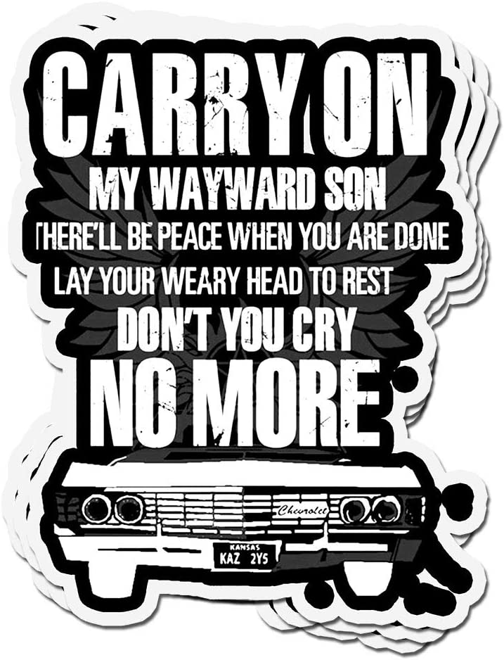 shopdoz 3 PCs Stickers Carry On My Wayward Son There Will Be Peace Supernatural 4 × 3 Inch Die-Cut Decals for Laptop Window