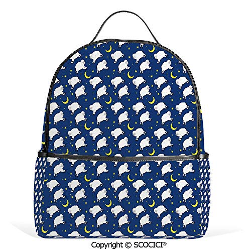 Hot Sale Backpack outdoor travel Cute Sleeping Lambs Pattern with Crescent Moon and Stars Bed Children Print,Blue White,With Water Bottle Pockets]()