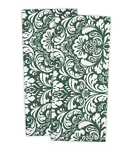 Damask Hand Towel - DII Cotton Damask Kitchen Dish Towels, 28 x 18 Set of 2, Low Lint Decorative Tea Towel for Everyday Cooking and Baking-Dark Green