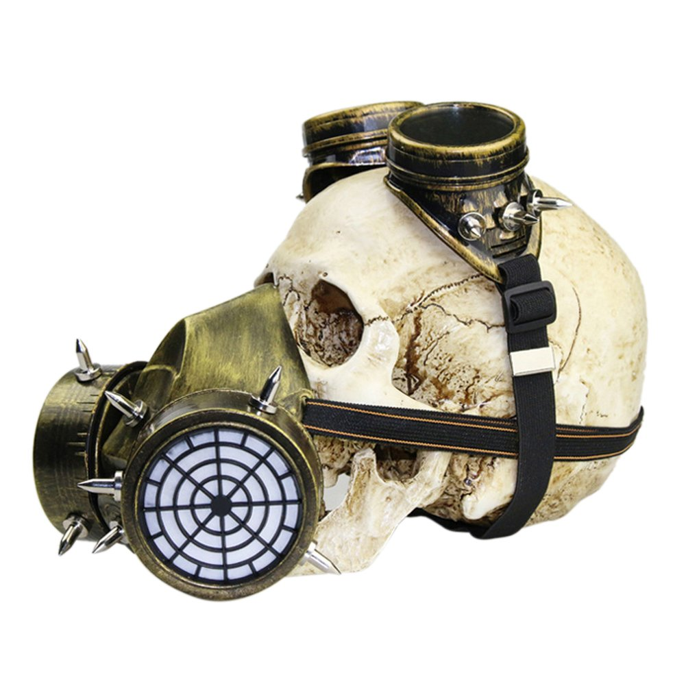 Halloween Masquerade Party Cosplay Fancy Gothic Steampunk Metal Rivet Skull Antigas Mask for Adult Women and Men by ShiningLove (Image #1)
