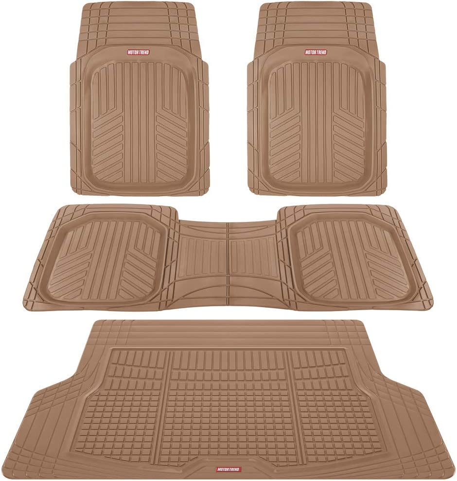 Motor Trend Premium FlexTough All-Protection Cargo Liner - DeepDish Front & Rear Mats Combo Set – w/ Traction Grips, Beige