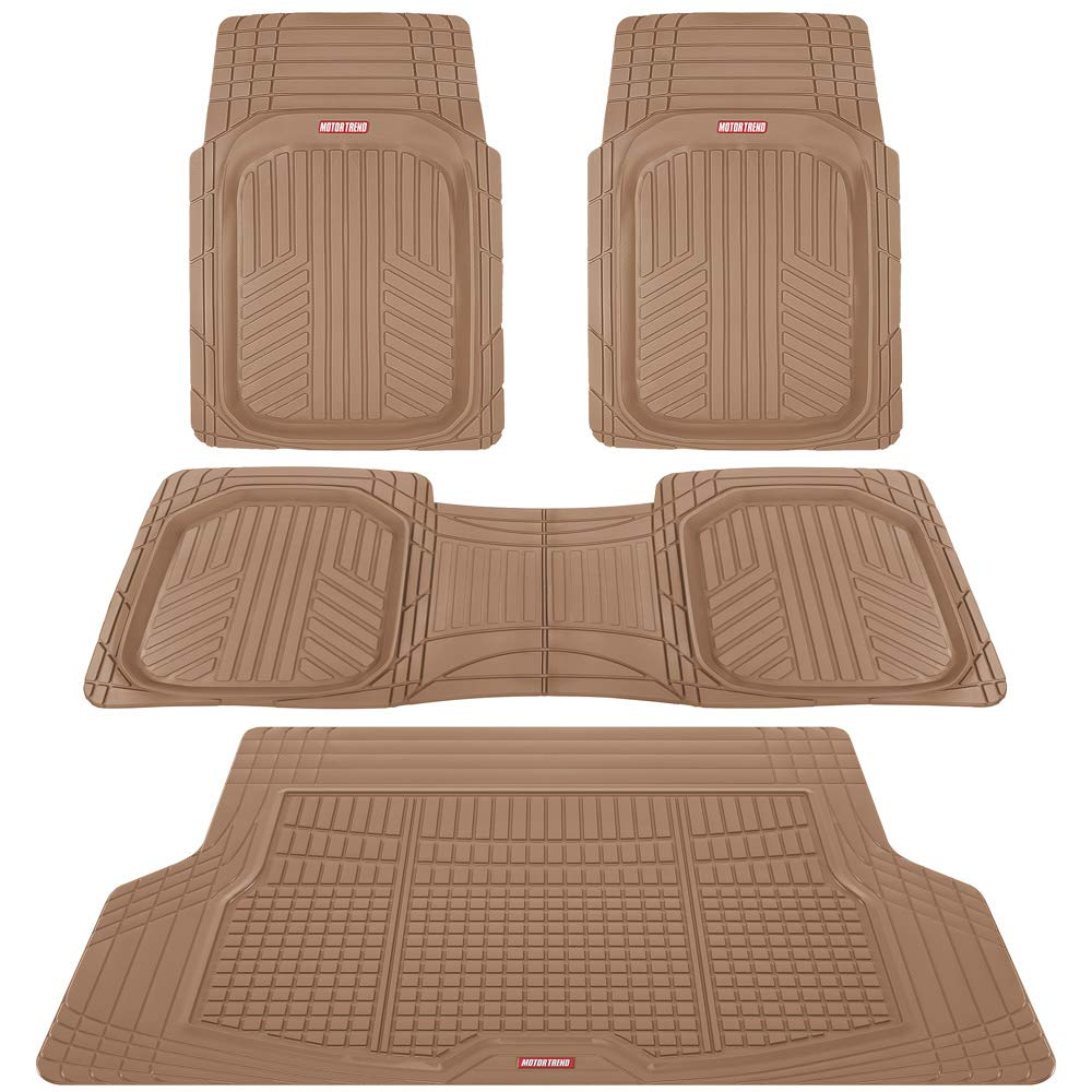 Motor Trend Premium FlexTough All-Protection Cargo Liner - DeepDish Front & Rear Mats Combo Set – w/Traction Grips