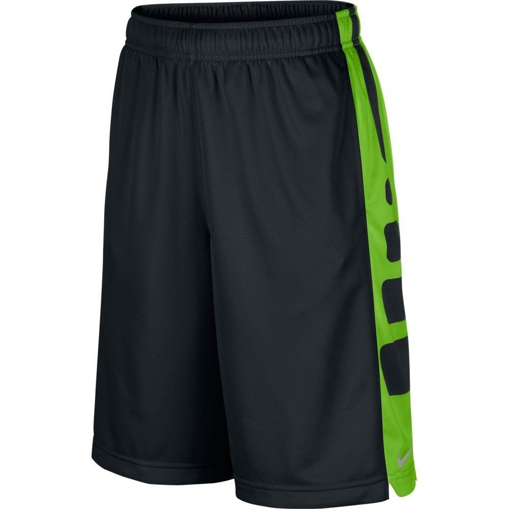 NIKE Boy's Elite Stripe Basketball Shorts Black/Action Green/Metallic Silver Size Medium