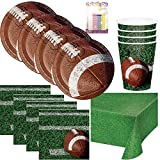 Football Tailgate Rush Party Supplies Pack Serves 16: Dessert Plates, Beverage Napkins, Cups, Table Cover, and Birthday Candles
