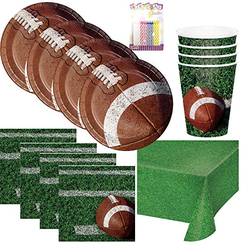 - Football Tailgate Rush Party Supplies Pack Serves 16: Dessert Plates, Beverage Napkins, Cups, Table Cover, and Birthday Candles