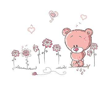 Wandtattoo Wandsticker Wandaufkleber Pink Bär Bärchen Deko Kinderzimmer  Cartoon