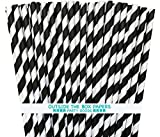 black and white decorations Striped Paper Straws - Black White - 7.75 Inches - Pack of 100 - Outside the Box Papers Brand