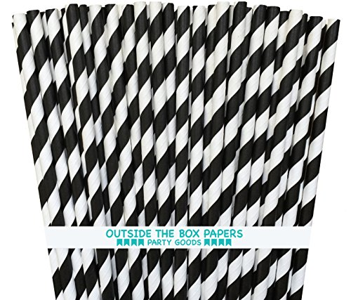 Striped Paper Straws - Black White - 7.75 Inches - Pack of 100 - Outside the Box Papers Brand
