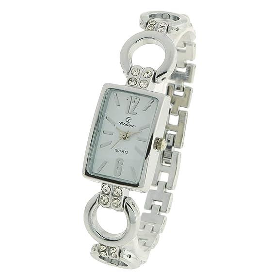 montre-concept – Reloj analógico Mujer – pulsera metal plata esfera rectangular color plata fondo