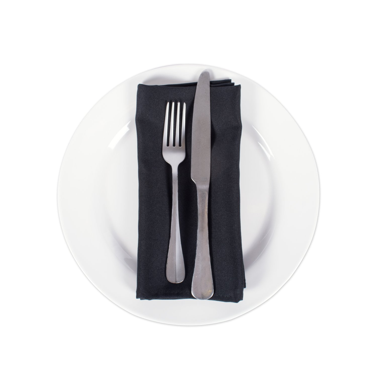 E-Living Store Polyester Commercial Quality Heavy Duty Cloth Napkins (18x18-inch) for Restaurant or Home Table, Bulk Set of 12, Black by E-Living Store (Image #3)