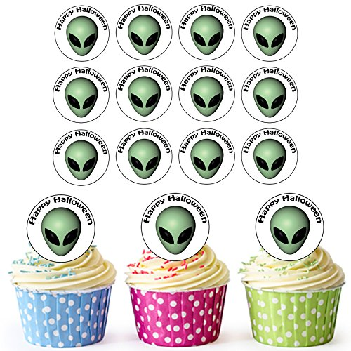 AKGifts 24 PRE-CUT Circles Halloween Alien Head Edible Cupcake Toppers / Halloween Cake Decorations (7 - 10 BUSINESS DAYS DELIVERY FROM (Sale Halloween Decorations Uk)