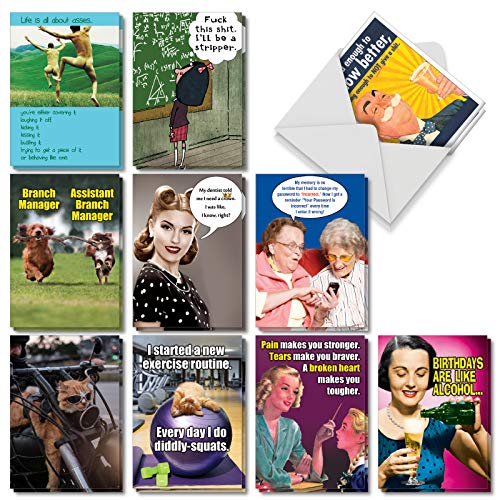 A Very Funny Birthday: Assorted Box of 20 Hysterical Birthday Cards Featuring the Absolute Best Humor Cards Ever, of All Time, Envelopes - Adult Humor (10 Designs, 2 Cards Per Design) AC5979BDG-B2x10 -