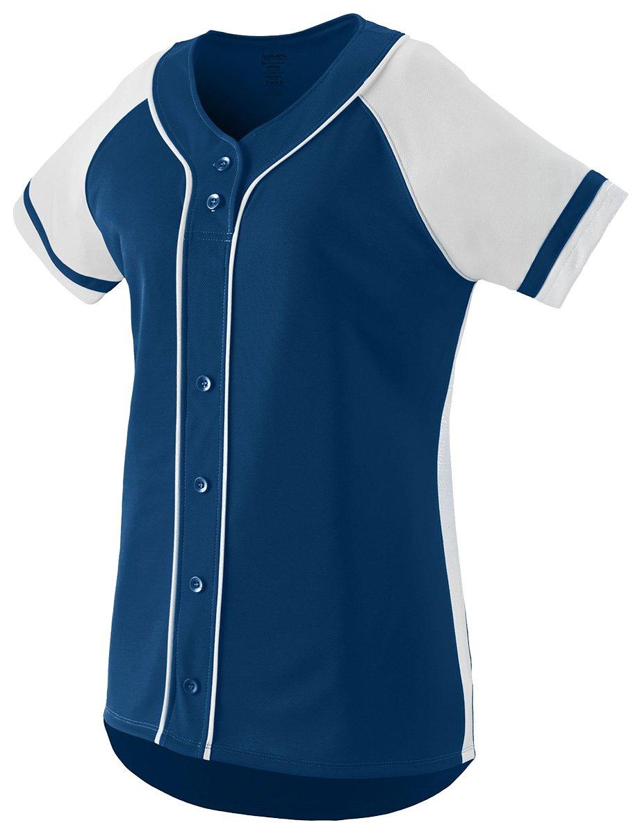 Augusta Sportswear Girls ' Winner Softball Jersey B01C5G6C80 Large ネイビー/ホワイト ネイビー/ホワイト Large