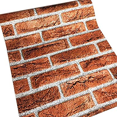 Faux Brick Wallpaper, H2MTOOL Removable Self Adhesive Contact Paper Decorative