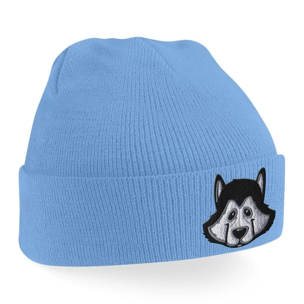 12017663b1e Amazon.com  Beanie Hats for Men Siberian Husky Beanies Embroidered Animal  Face Knitted Wooly Hat One Size Fits All Beanie Hat - Black  Clothing
