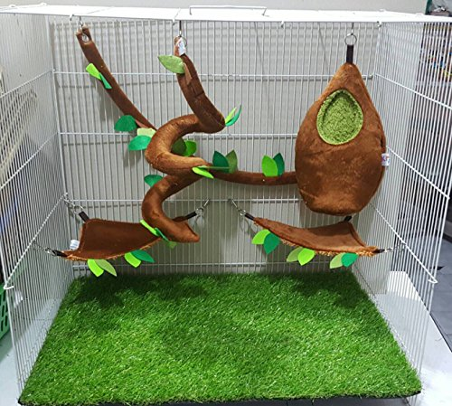Brown Sugar Pet Store 5 piece Sugar Glider Cage Set Oval Forest Pattern Light Brown - Oval Store