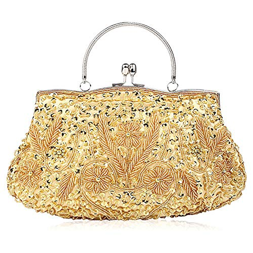 Seed Sequin Evening Leaf ibella Evening Bead Exquisite Clutch Clutch Clutch Floral Handbag Large Bag Soft Bead Antique Gold Sequined Purse Seed wIxx6BCqE