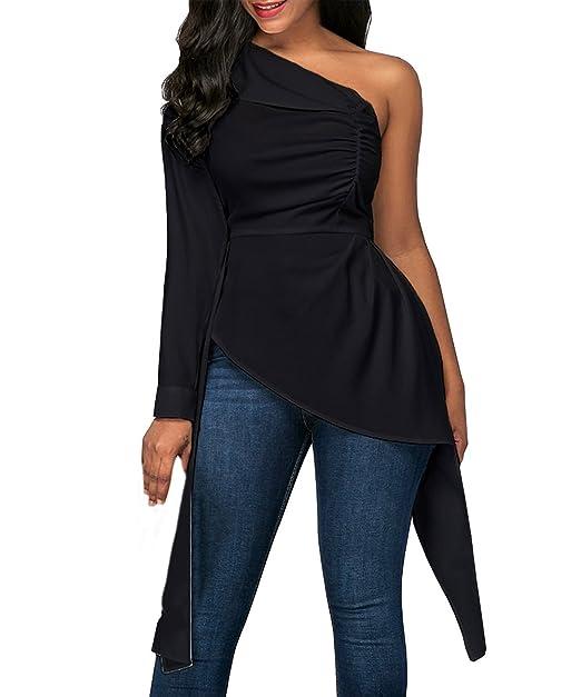 Camisetas Mujer Manga Larga Elegantes Blusas Asimetricas Sin Tirantes Backless Primavera Tops con Cinturón Slim Fit