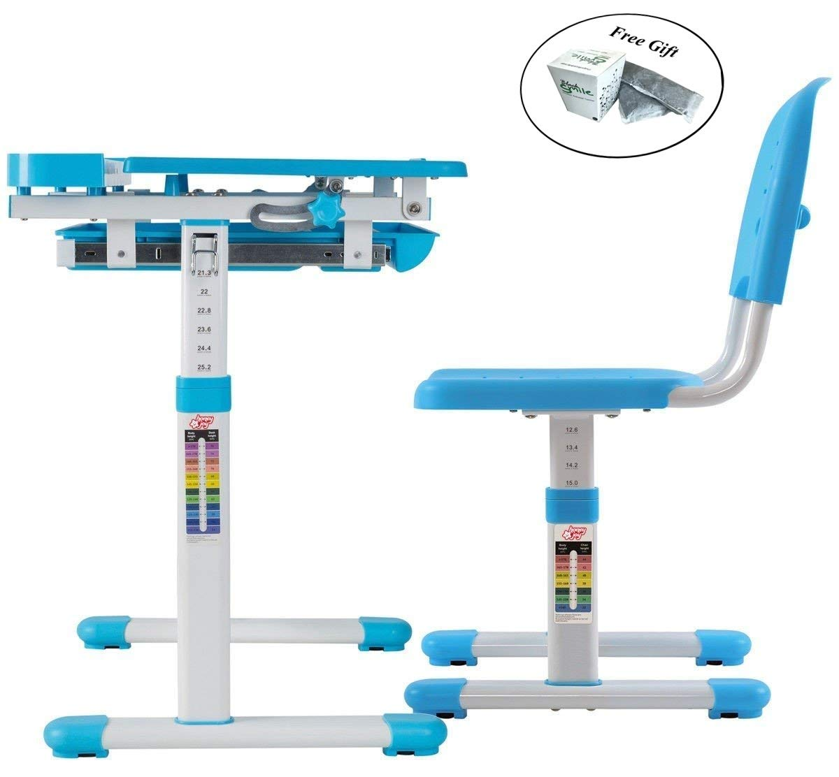 Multifunctional Height Adjustable Children's Desk Chair Set - Blue Only by eight24hours