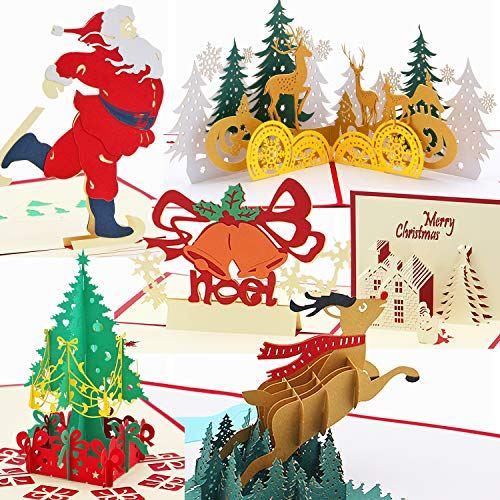 Titao Christmas Cards Pop Up 3D Greeting Cards Set of 6 Cards and Envelopes with Santa Claus, Christmas Tree, House, Jingle bell, Reindeer, Christmas Forest for  Christmas, New Year, Holiday, Festival