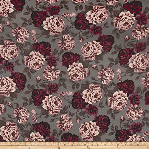 Double Brushed Jersey Knit Shabby Floral Espresso/Wine/Rose Fabric By The (Floral Stretch Jersey)
