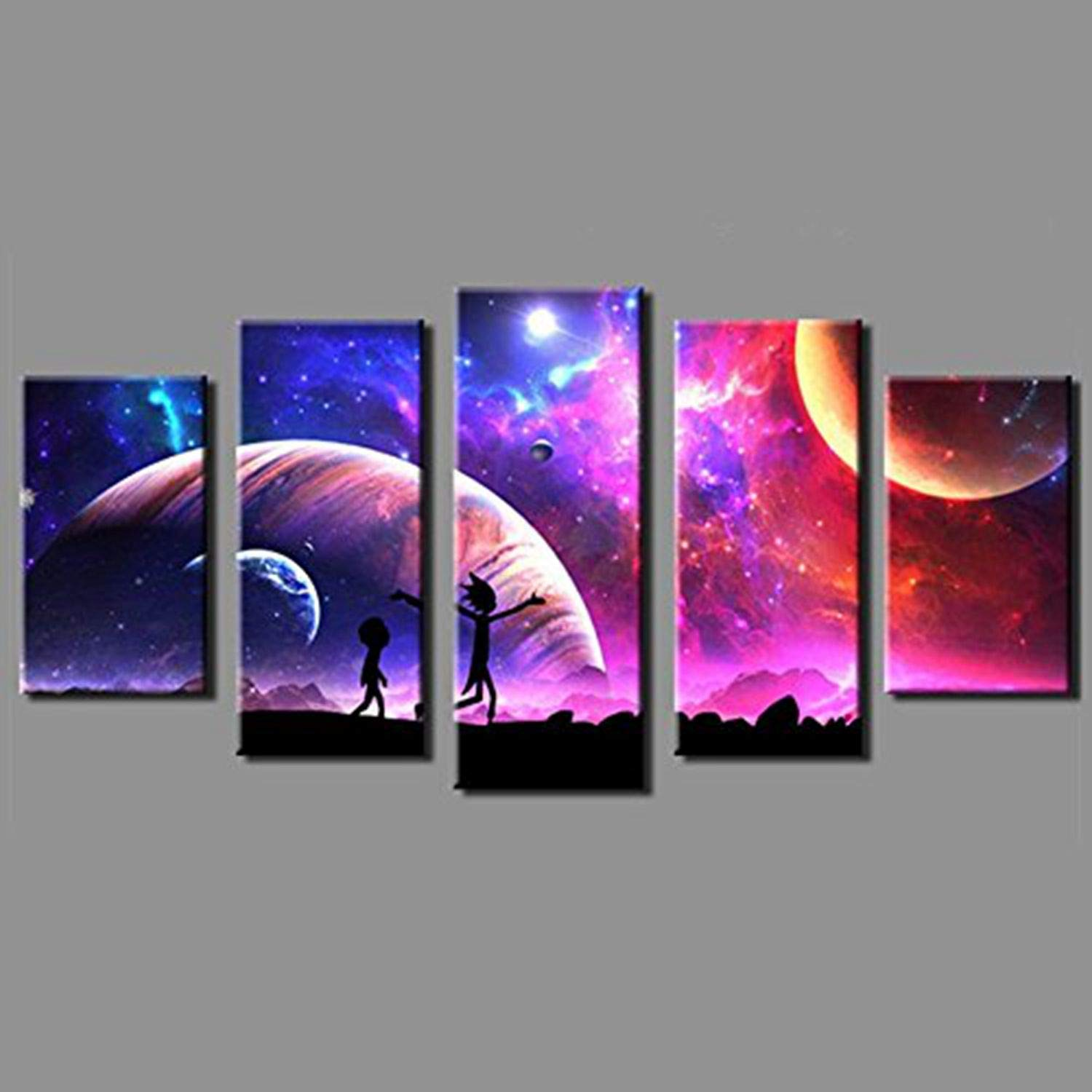JESC Canvas Pictures Home Wall Art Framework Decor 5 Pieces Rick Space Planet Painting for Living Room HD Prints Animated Cartoon Poster (No Frame (Only Canvas, 30x50cmx2,30x70cmx2,30x80cmx1) …